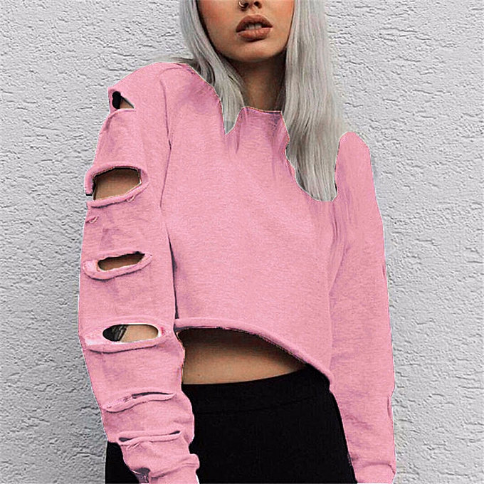 Fashion (Xiuxingzi) femmes Long Sleeve Hollow Hole Short Sweater Shirt Blouse Tops PK L à prix pas cher