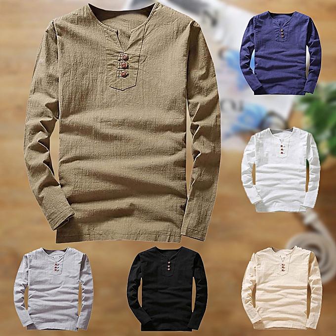 mode Hommes& 039;s été Décontracté Linen and Cotton manche longue V-Neck T-shirt Top chemisier Tee -Khaki à prix pas cher