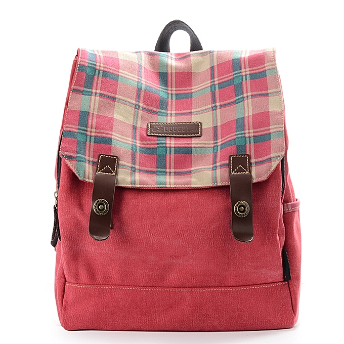 Fashion femmes Vintage Canvas Casual Backpack School Plaid Backpack à prix pas cher