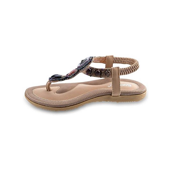 Siketu SIKETU   Bohemia Beach Rhinestone Design Slip On Beach Bohemia Flip-flop Sandals à prix pas cher  | Jumia Maroc e05d42