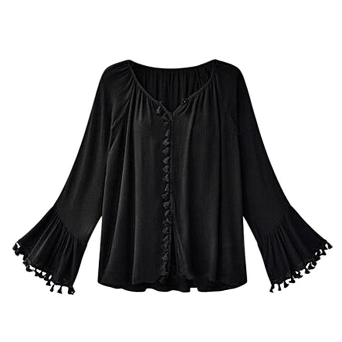 mode meibaol store femmes Tassels  Ladies Loose Flare sleeves Solid chemisier T-Shirt hauts Clothes à prix pas cher