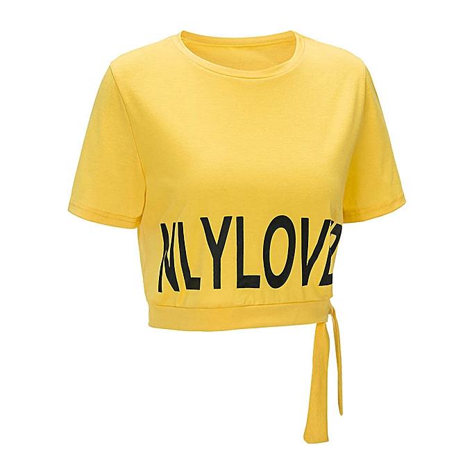 Generic Generic femmes Slim Short Sleeve Casual Blouse Letter Print Tops Fashion Summer T-Shirt A1 à prix pas cher