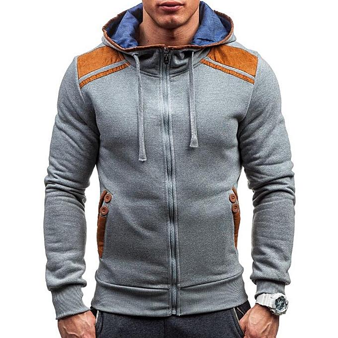 Fashion Men's Fashion Button Pockets Zipper Drawstring Hoodies Couleur Block Casual Sweatshirts à prix pas cher