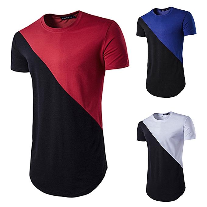 Fashion Men's Casual Ripped Hole Short Sleeve T-shirt Top Blouse -Dark bleu à prix pas cher