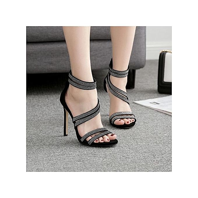 Fashion Bliccol High Heel chaussures Fashion femmes Sandals Summer chaussures Party Wedding Rhinestone Sexy High Sandals -noir à prix pas cher