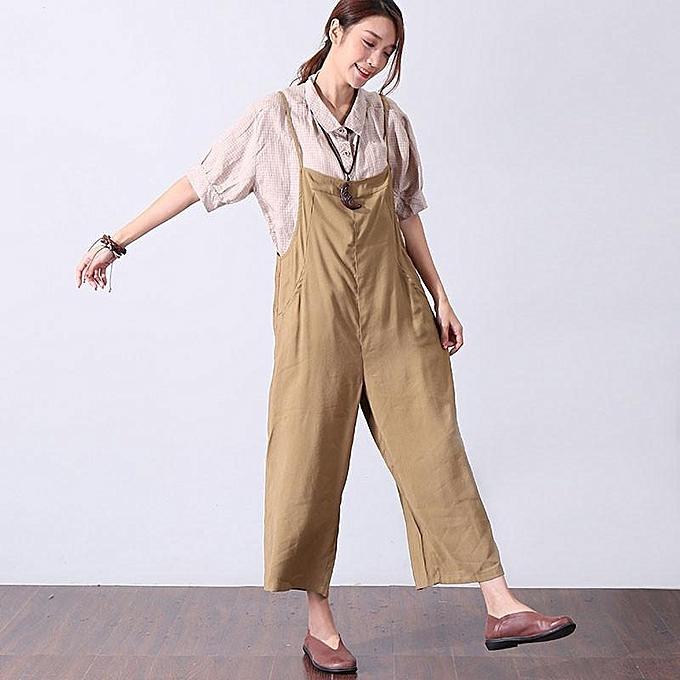 mode Celmia femmes Ladies mode Adjustable les bretelles Two Pockets Plain Décontracté Loose Long Jumpsuit Rompers Khaki à prix pas cher
