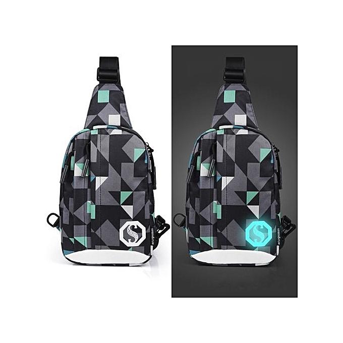 Neworldline Fashion Oxford Noctilucent Shoulder Bags Chest Crossbody Bag G-MultiCouleur à prix pas cher
