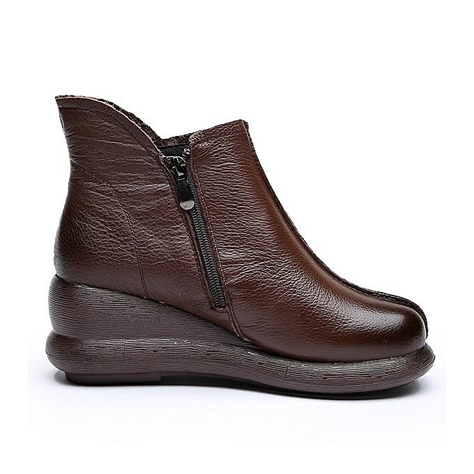 Fashion SOCOFY Fashion Retro Handmade Zipper Ankle Ankle Zipper Platform Leather WoHommes  Boots à prix pas cher  | Jumia Maroc a4bd6d