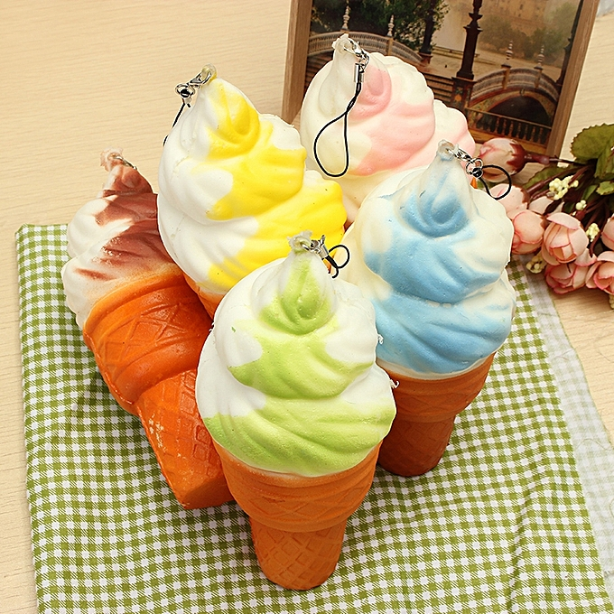 UNIVERSAL Squishy Jumbo Ice Cream Cone 17cm SFaible Rising Soft Collection Decor Gift Phone sac Strap-vertblanc à prix pas cher