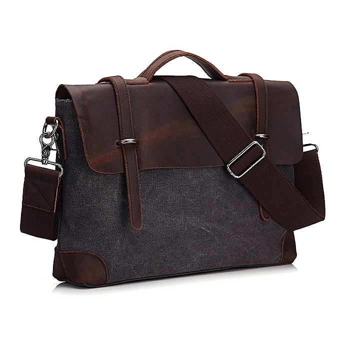 Fashion Men Briefcase Handbag  Leather And Canvas Patchwork Men's Messenger Bag Vintage Brand Male Shoulder Laptop Bag Travel Bag à prix pas cher