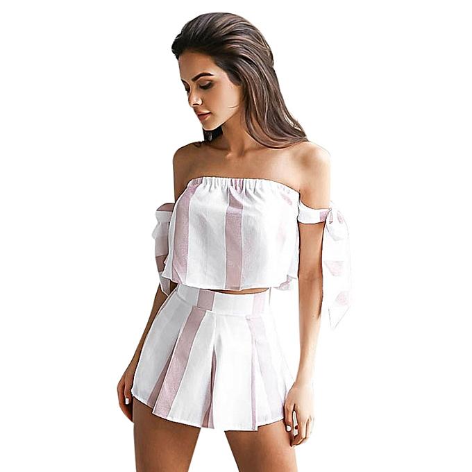 Fashion (Xiuxingzi) femmes Off The Shoulder Shirt Stripe Top Blouse + Pants Two-Piece Outfit PK L à prix pas cher
