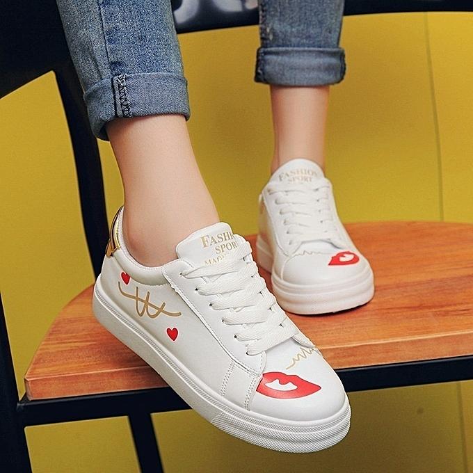 Autre Stylish Korean Fashion Red Lips Lips Lips Lacing White Shoes à prix pas cher  | Jumia Maroc b09e6c