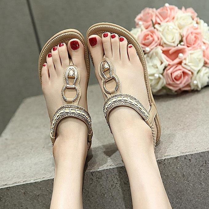 Fashion Bohemia femmes Summer Slippers Sandals Flip Flops Flat Ladies Beach Thong chaussures à prix pas cher