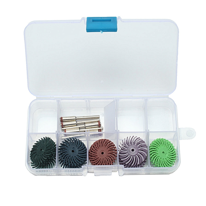UNIVERSAL 30pc 1inch Radial Bristle Disc Brush 5 Grits + 5 Mandrel rougeary Adapter + 1 Box à prix pas cher