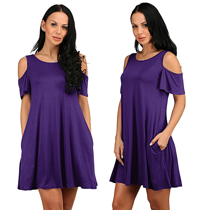 Fashion schoolcool femmes Summer Cotton Loose Solid Off-Shoulder Casual Sundress Mini Dress PP XL à prix pas cher