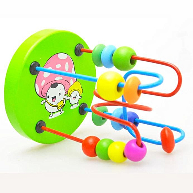 Generic Kids Baby Couleurful Wooden Mini Around Beads Educational Game Toy à prix pas cher
