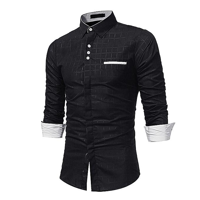 mode Hommes& 039;s Autumn Décontracté Formal Plaid Slim Fit manche longue Robe Shirt Top chemisier à prix pas cher