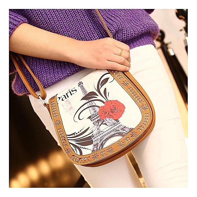 Siketu femmes Printing Leather Messenger Bag Lady Shoulder Bag Handbags Dark bleu- Khaki à prix pas cher