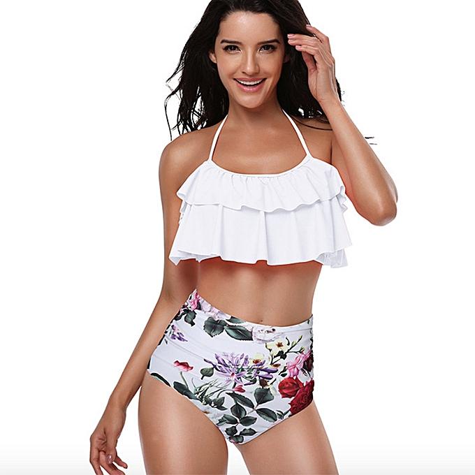 Autre maillot de bain femmes Bikini 2019 femmes High Waist maillot de bains Ruffles Bikinis Swimming Suit For femmes Push Up Bathing Suits Biquini JY-M( Y9252-2) à prix pas cher