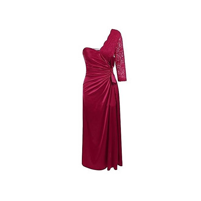 Sunshine femmes Sexy One Shoulder Lace Patchwork Maxi Ruched Cocktail Dress-Wine rouge à prix pas cher