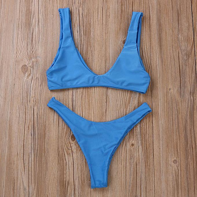 mode SIN femmes Bikini Set maillot de bain Push-Up Padded Solid Bra maillot de bain plagewear  BU L à prix pas cher