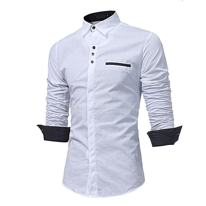 mode Hommes& 039;s Autumn Décontracté Formal Plaid Slim Fit manche longue Robe Shirt Top chemisier- blanc à prix pas cher