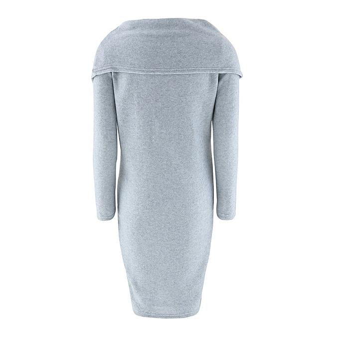 Generic Xiuxingzi femmes Autumn Long Sleeve Bodycon Lapel Sweater Dress GY M à prix pas cher