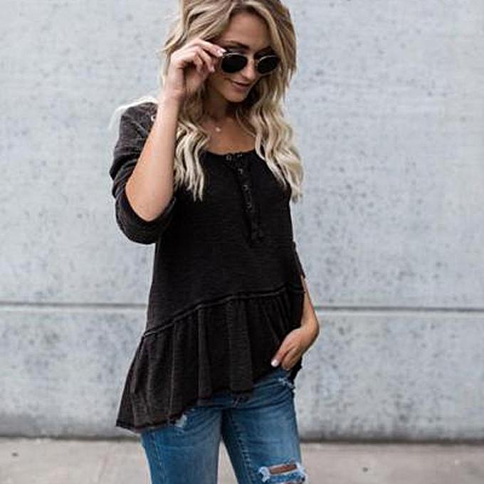 mode (Xiuxingzi) femmes Loose Kitted Décontracté chandail Ladies manche longue Knitwear hauts BK L à prix pas cher