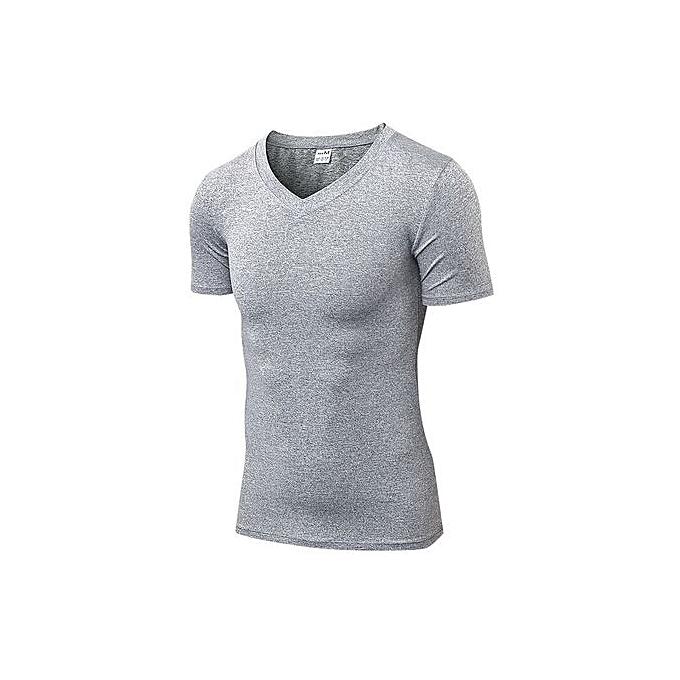 Other Men's Short Sleeve Slim T Shirt Solid Couleur Fitness T Shirt- gris à prix pas cher