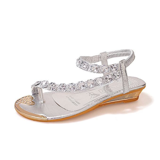 Fashion Xiuxingzi Retro  femmes Fashion Bohemia Crystal Wedges  Flats chaussures Open-Toed Rome Sandals à prix pas cher
