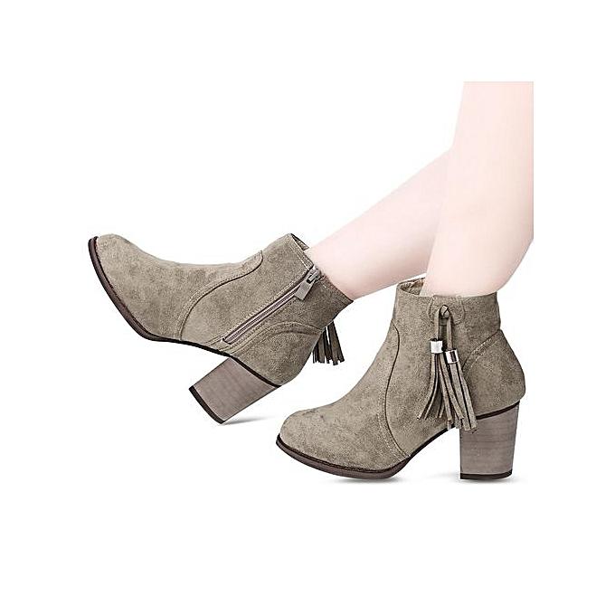 Fashion Casual Round Toe Tassel EmbellishHommes t   t  Thick Heel Boots à prix pas cher  | Jumia Maroc f1dcb1
