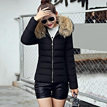 a5321d0eb81 Fashion Women Short Coat Hooded Down Fur Collar Jacket Slimming Cotton Coat