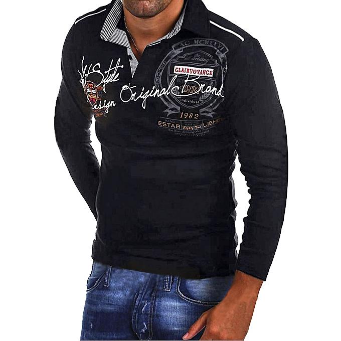 mode jiuhap store mode Hommes& 039;s Décontracté Slim Print manche longue T Shirt Top chemisier Shirt à prix pas cher