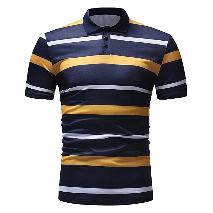 mode Jummoon Shop Pour des hommes Buttons Design Half voituredigans manche courte Patchwork Décontracté T Shirt YE L à prix pas cher