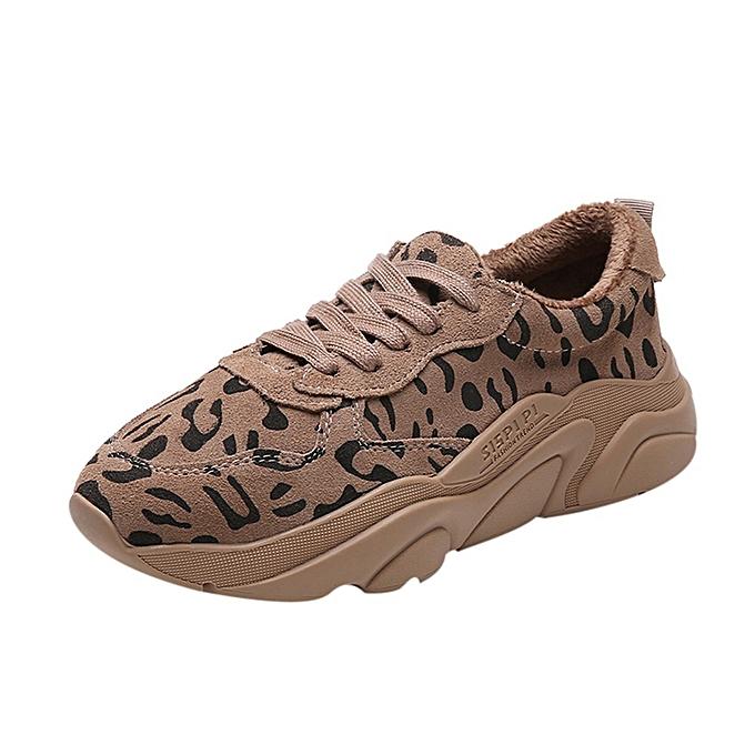 mode Xiuxingzi femmes mode Winter Warm Leopard Print paniers Sport FonctionneHommest Round Toe chaussures à prix pas cher