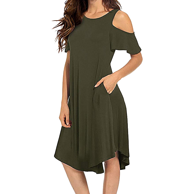 Fashion Wohommes Casual Cold Shoulder Midi Dress Short Sleeve Swing Dress with Pockets à prix pas cher