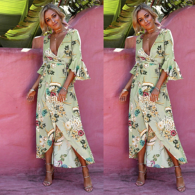 Fashion TCE WohommesBeach Sundress Floral Boho Evening Party Long Maxi Dress à prix pas cher