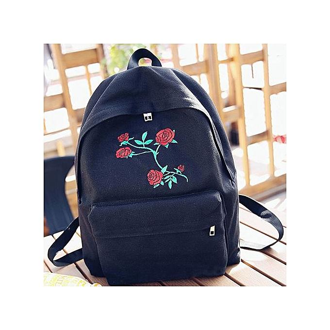 Fashion femmes Girls Canvas Embroidery Flowers School Bag Travel Backpack Bag à prix pas cher