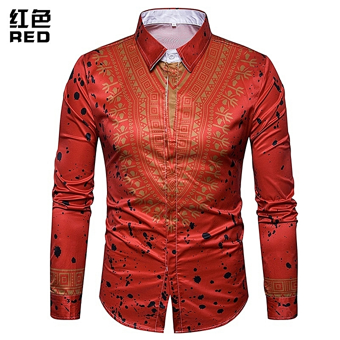 Other Stylish Men 3D Printed National Style Floral Fashion Long Sleeve Shirt à prix pas cher