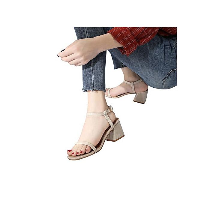 Fashion femmes Solid Couleur Square Toe Squar Heel Rome High Heeled chaussures à prix pas cher