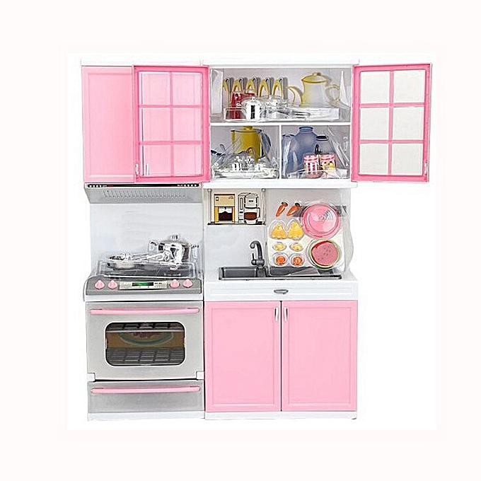 Generic Xmas Gift Mini Kids Kitchen Pretend Play Cooking Set Cabinet Stove Girls Toy à prix pas cher