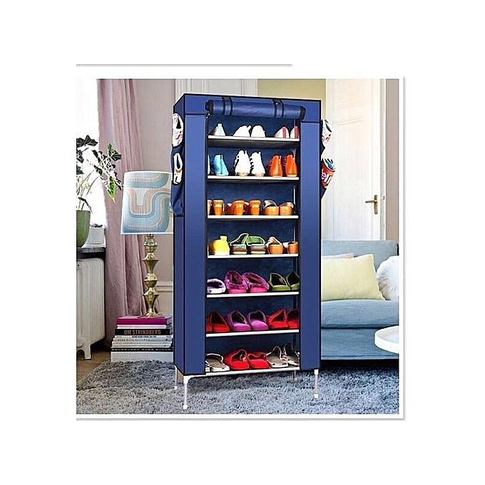 Armoire chaussures 7 tages bleu marine achat for Ameublement casablanca chambre coucher
