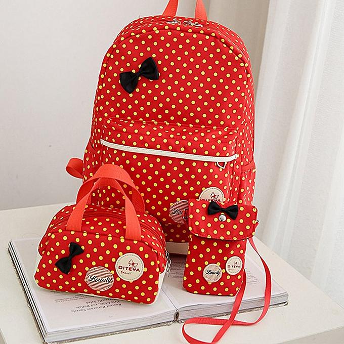 Generic Casual femmes Polka Dots Printed Zipper Backpacks Girls Teen Students Backpack à prix pas cher