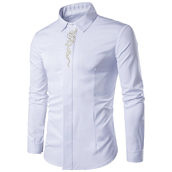 Fashion Mens Hipster Fit Long Sleeve Button Embroidery Down Dress Shirts Tops WH L à prix pas cher