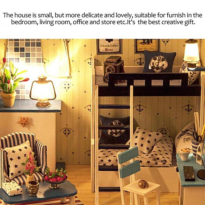 Autre Vodool - Kit de meubles de maison de poupée miniature en bois bleu Star Dream House à prix pas cher