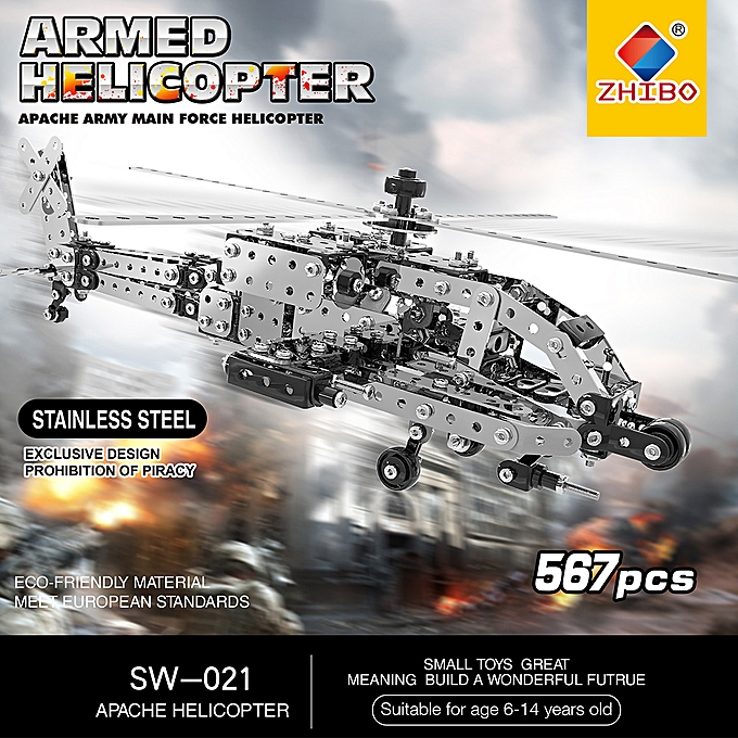Autre 567Pcs Apache Helicopter Intelligent Construction Set 3D Stainless Steel Model Kit DIY Gift Model Building Educational Toys à prix pas cher