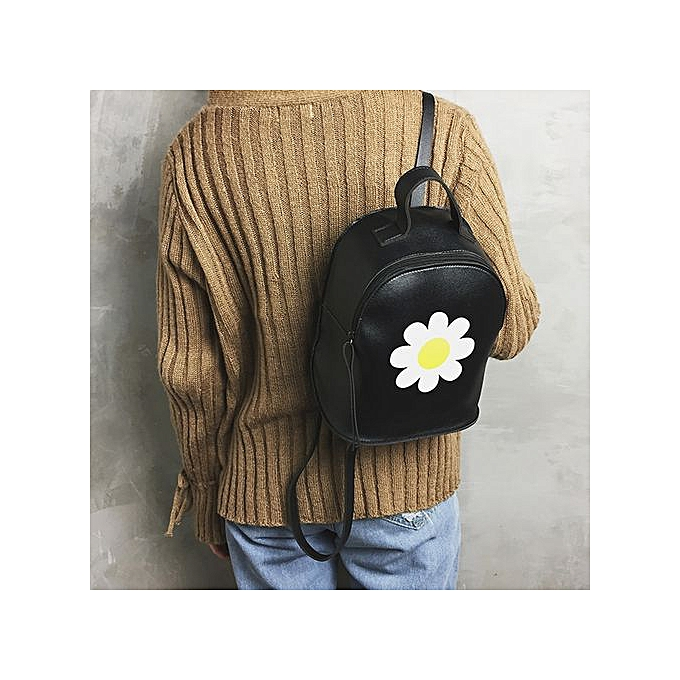 mode Singedanfemmes Print Floral sac à dos Double Shoulder sac Zipper sac voyage School sac -noir à prix pas cher