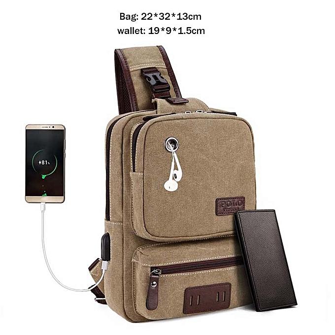 Other VICUNA POLO USB Cable cuir Hommes Messenger sac With Headphone Hole High Quality bandoulière Shoulder sac Décontracté Chest Sling sac(Set marron) à prix pas cher