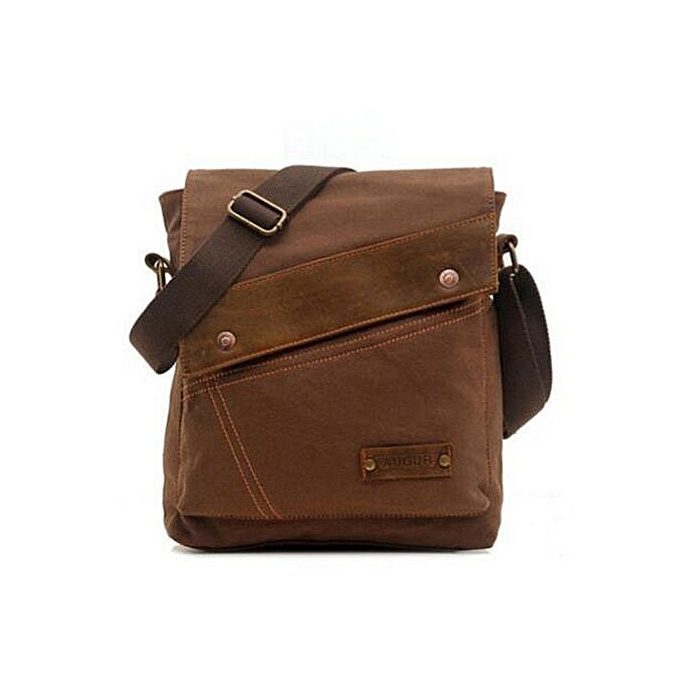Augur 2016 New AUGUR Fashion Men's Casual Canvas Crossbody Bags Travel Messenger Shoulder Hiking Bags(Coffee) à prix pas cher