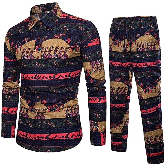 Other Long Sleeved Men's Printed Casual Shirt and Pants Suit à prix pas cher